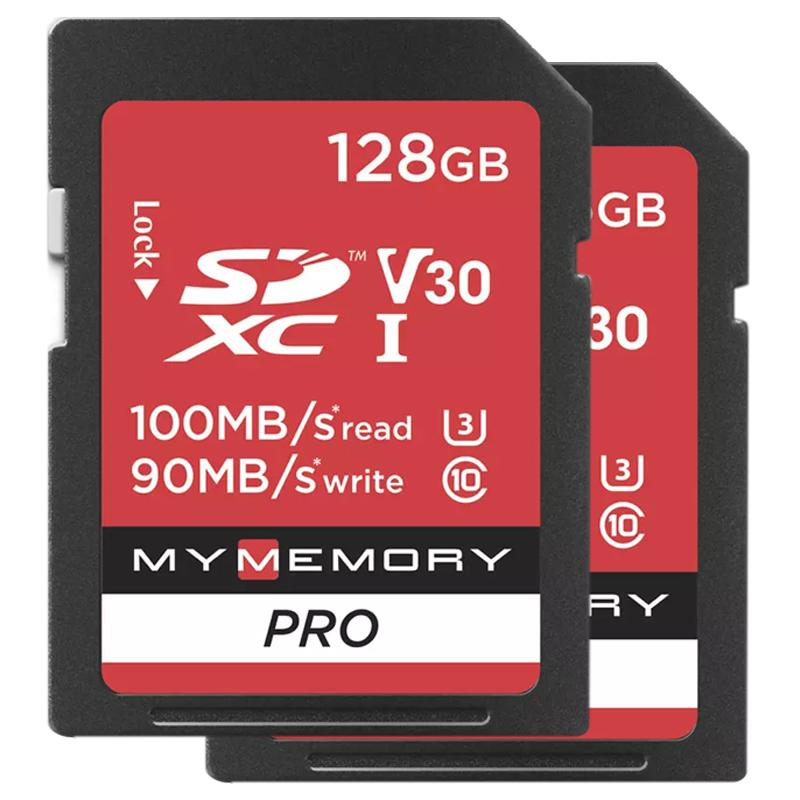 MyMemory 128GB V30 Premium High Speed SD Card (SDXC) UHS-I U3 - 2 Pack - 100MB/s