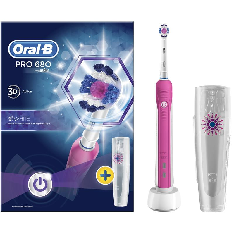 Oral-B Pro 680 3D White Electric Rechargeable Toothbrush - Pink