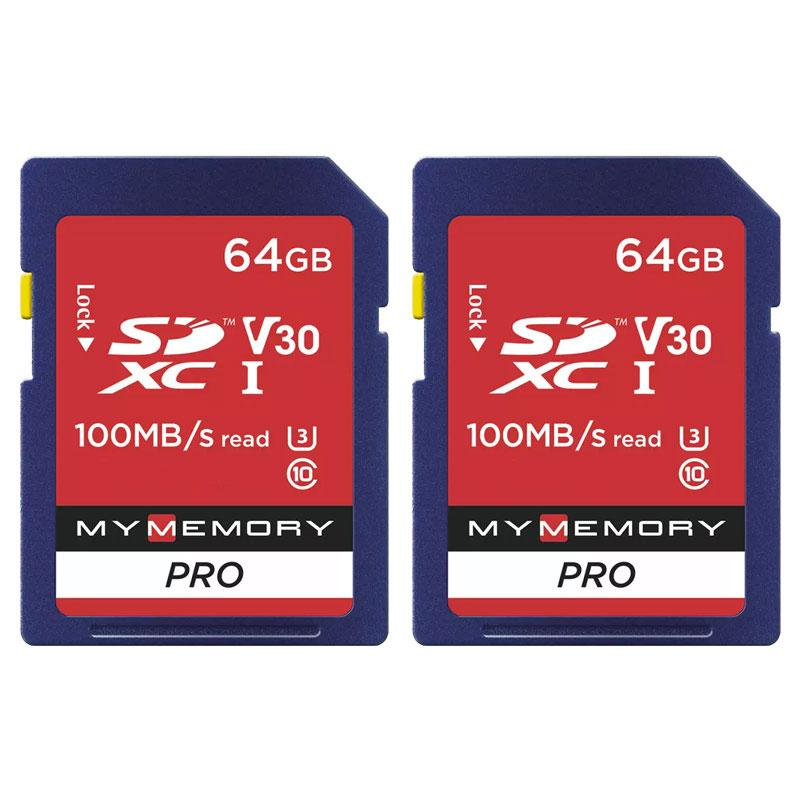 MyMemory 64GB V30 PRO High Speed SD Card (SDXC) UHS-1 U3 - 100MB/s - 2 Pack