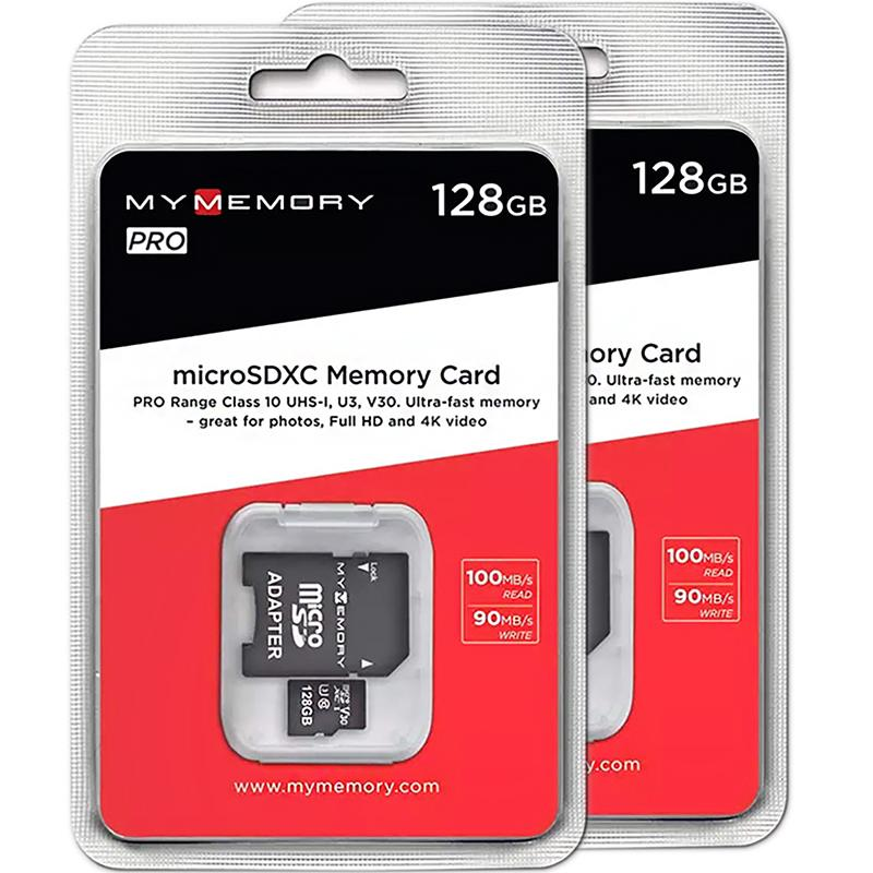 MyMemory 128GB V30 PRO Micro SD (SDXC) A1 UHS-1 U3 + Adapter - 100MB/s - 2 Pack