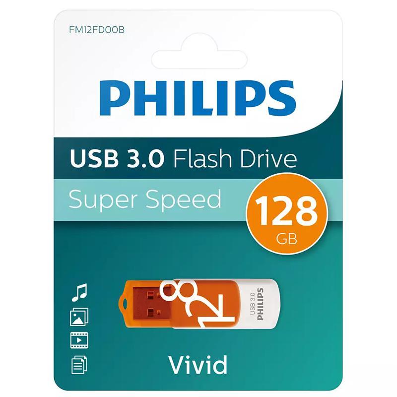 Philips 128GB Vivid USB 3.0 Flash Drive 100MB/s - Orange