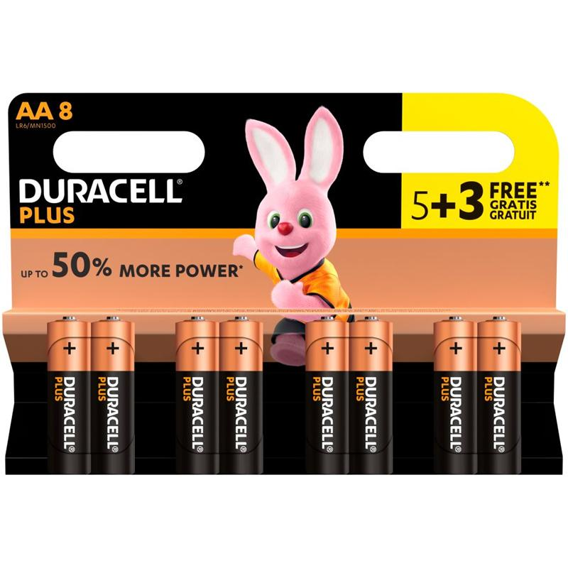 Duracell Plus Power AA Batteries 5+3 - 8 Pack