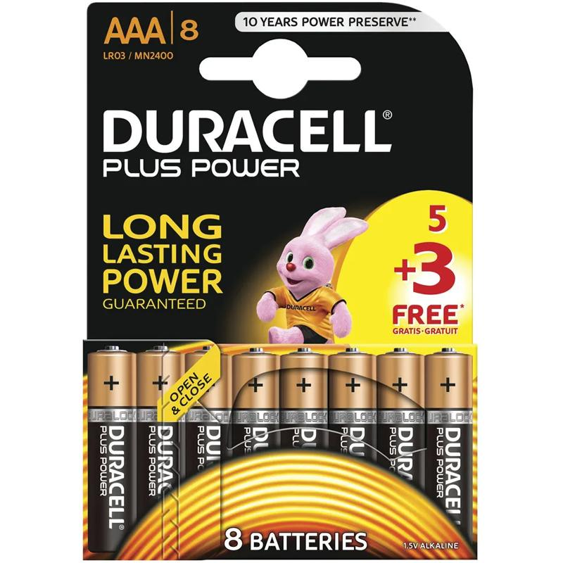 Duracell Plus Power AAA Batteries 5+3 - 8 Pack