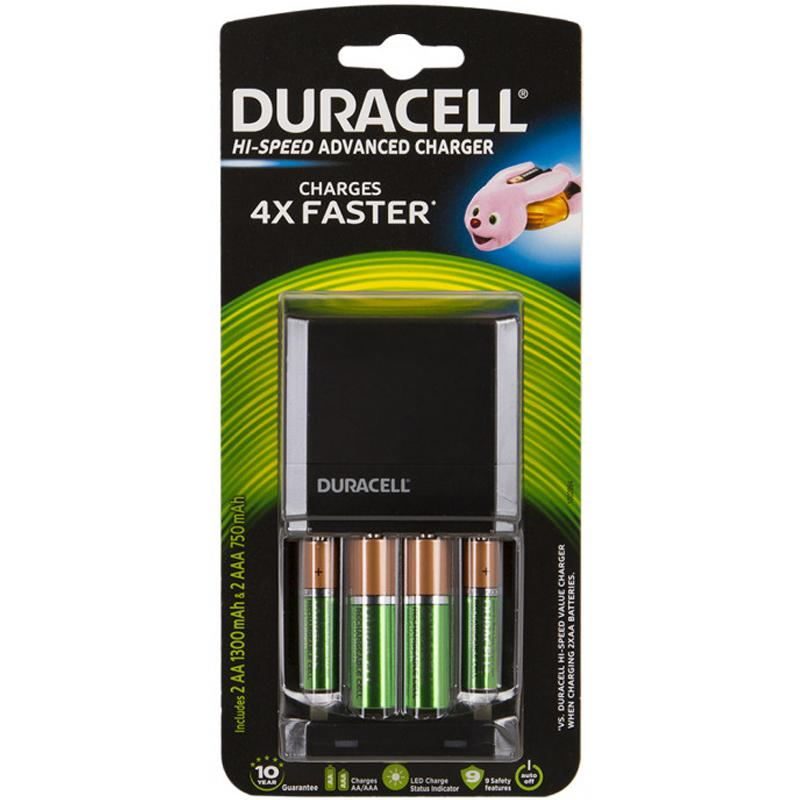 Duracell 1 Hour Battery Charger + 2 x 1300mAh AA, 2 x 750mAh AAA Rechargeable Batteries