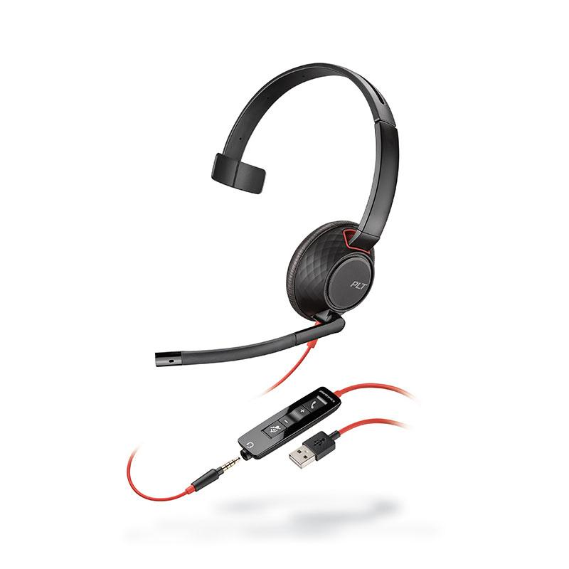 Plantronics Blackwire 5210 Corded USB-A Headset (Black) with 3.5mm Connection