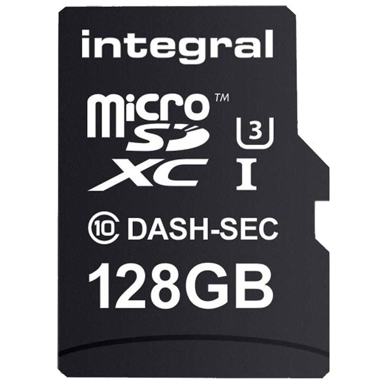 Integral 128GB Dash Cam Micro SD Card SDXC Class 10 UHS-I U3 + Adaptor