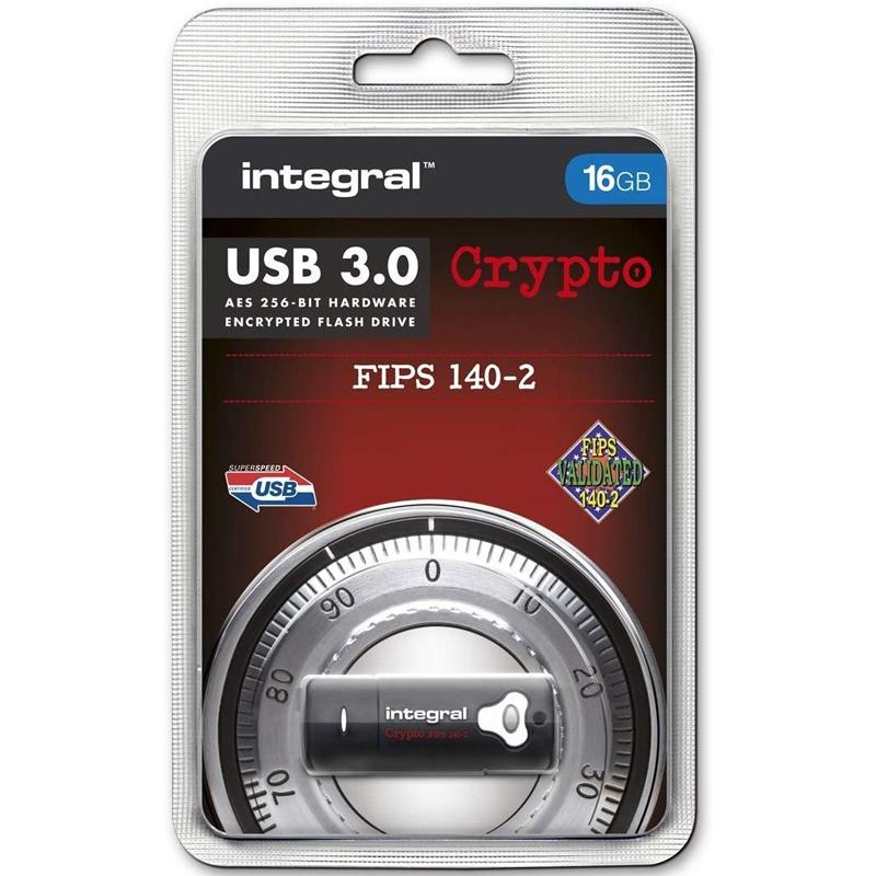 Integral 16GB Crypto FIPS 140-2 Encrypted USB 3.0 Flash Drive - 145MB/s