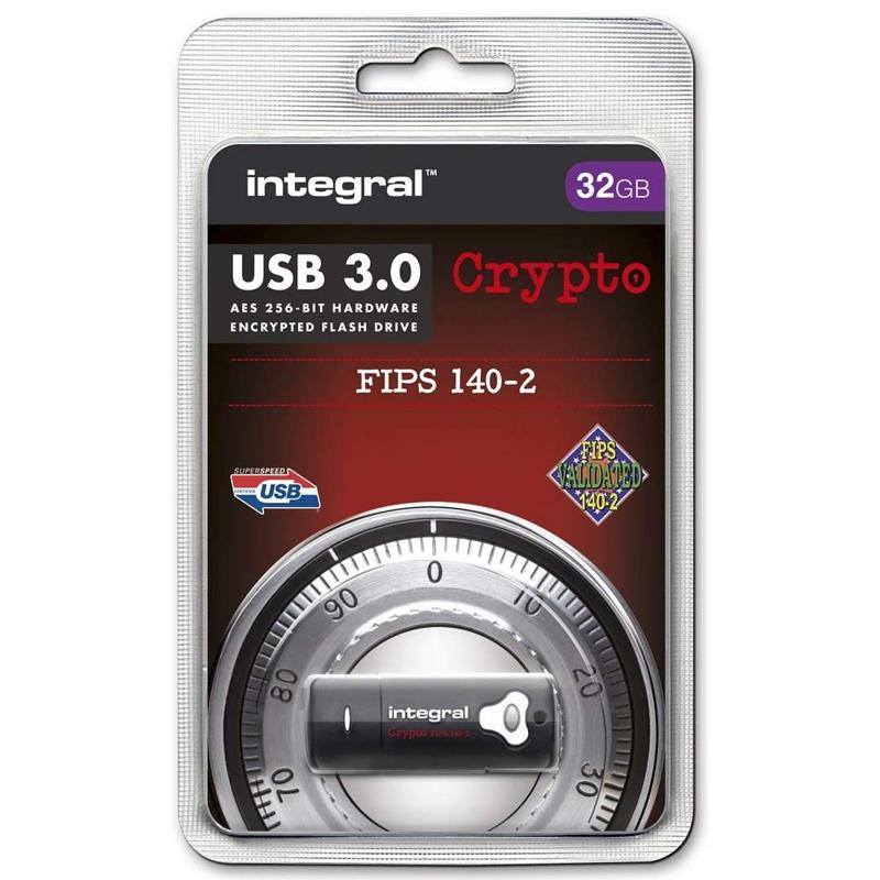 Integral 32GB Crypto FIPS 140-2 Encrypted USB 3.0 Flash Drive - 145MB/s