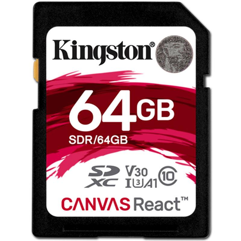 Kingston 64GB Canvas React SD Card (SDXC) - 100MB/s