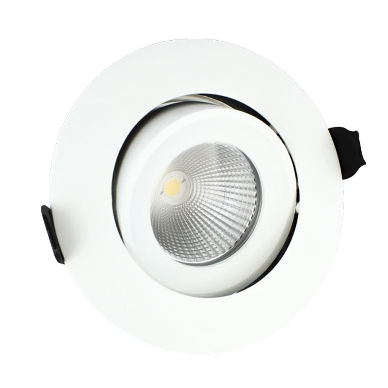Integral Tiltable LED Fire Rated Downlight 9W (51W) 3000K (Warm White) 92mm C/Out Dimmable Lamp - White