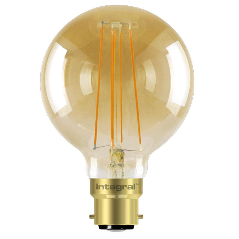 Integral G80 LED Vintage Globe Bulbs B22 5W (40W) 1800K (Ultra-Warm) Dimmable Lamp