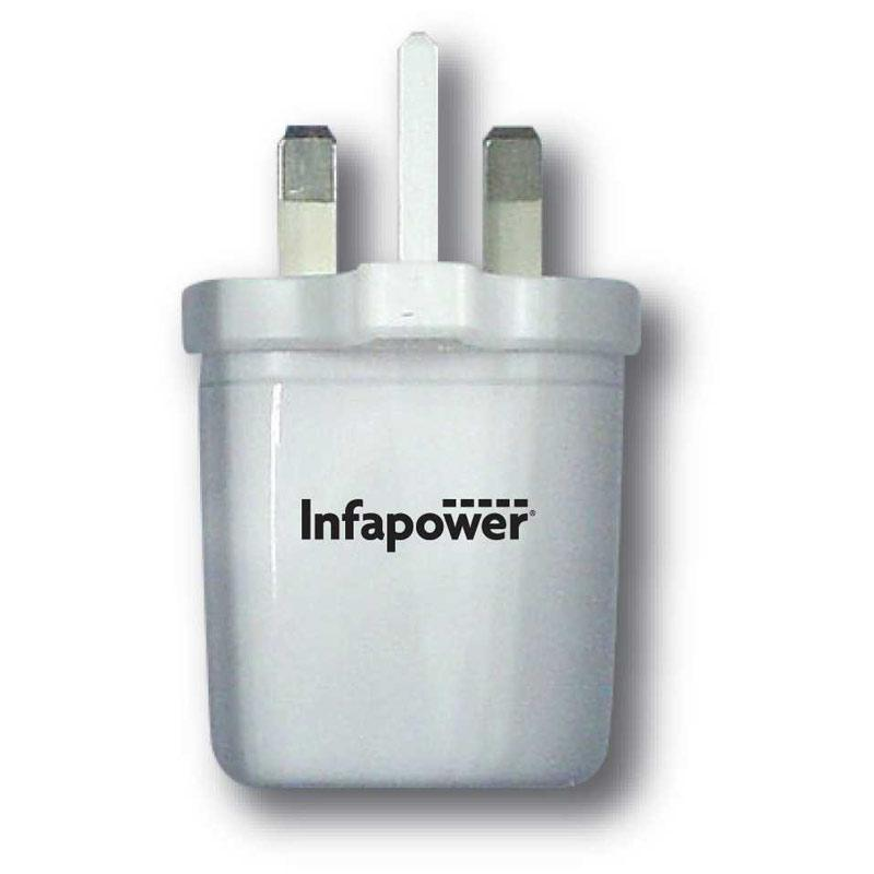 Infapower 2.1A USB Twin Mains Charger - White