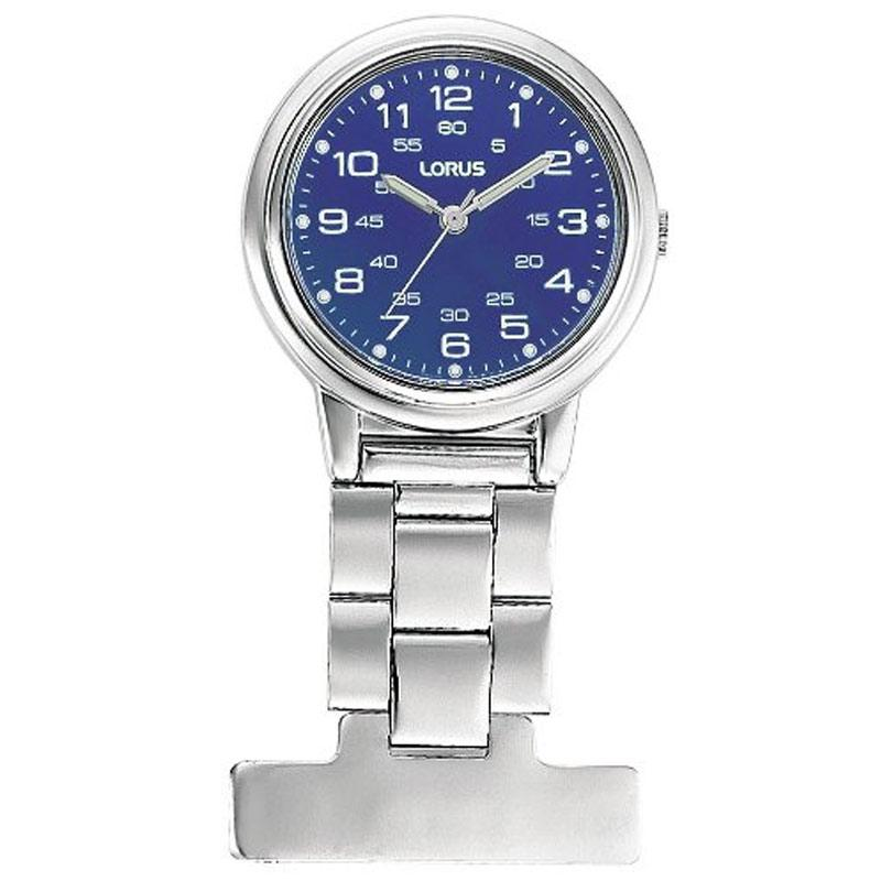 Lorus Silver with Blue Dial Nurses Fob Watch