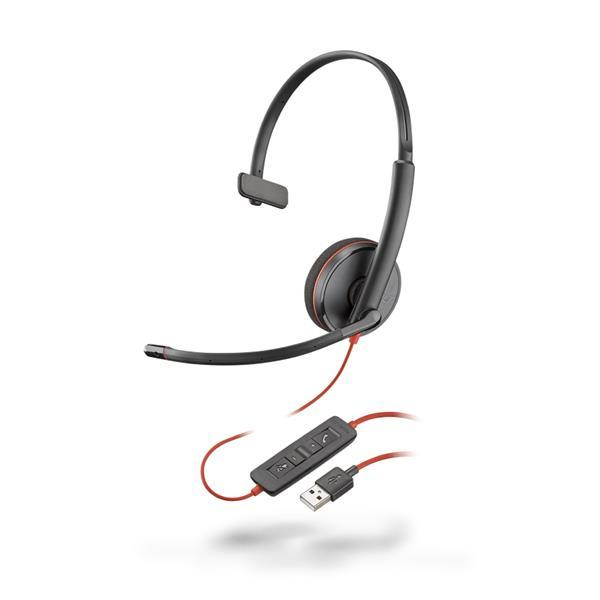 Plantronics - Blackwire 3210 USB-A Corded UC Monaural Headset - Black with Microphone