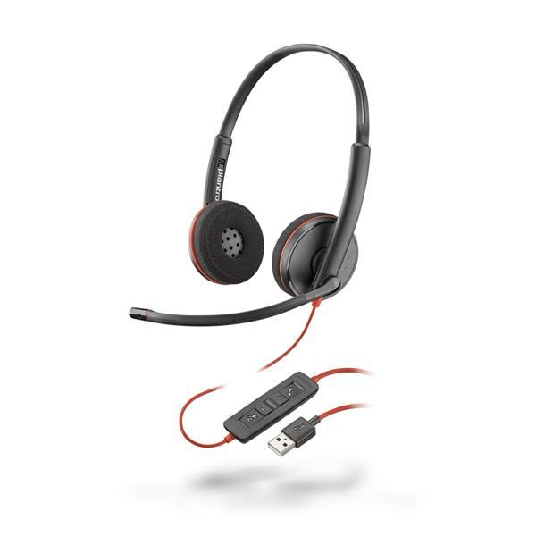 Plantronics - Blackwire 3220 USB-A Corded UC Dual Stereo Headset - Black with Microphone