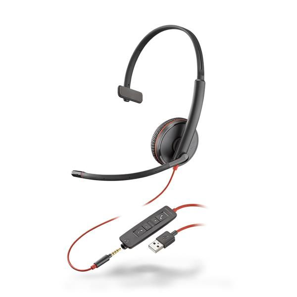 Plantronics Blackwire 3215 USB-A Corded UC Monaural Headset (Black) with Microphone