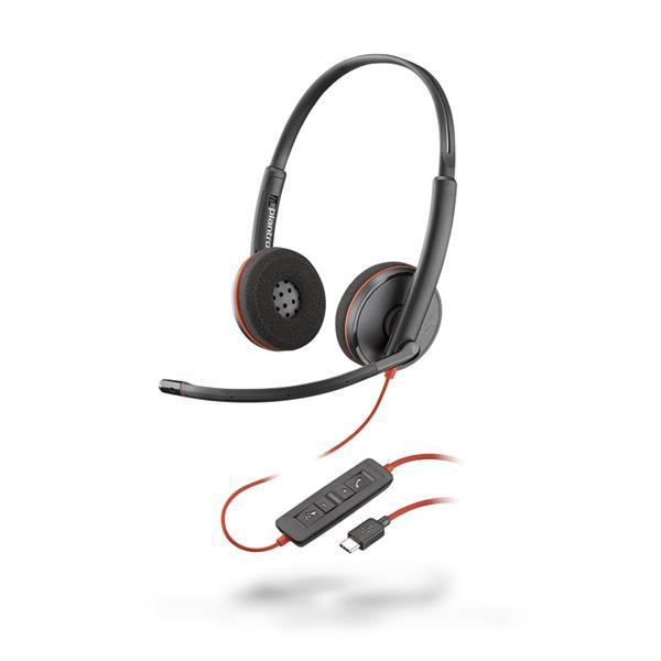 Plantronics - Blackwire 3220 USB-C Corded UC Stereo Headset - Black with Microphone
