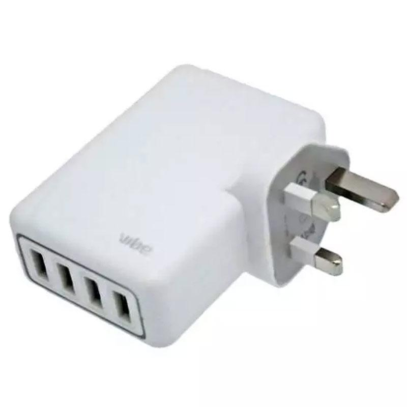 Vibe Quad 5.1A USB Mains Charger - White