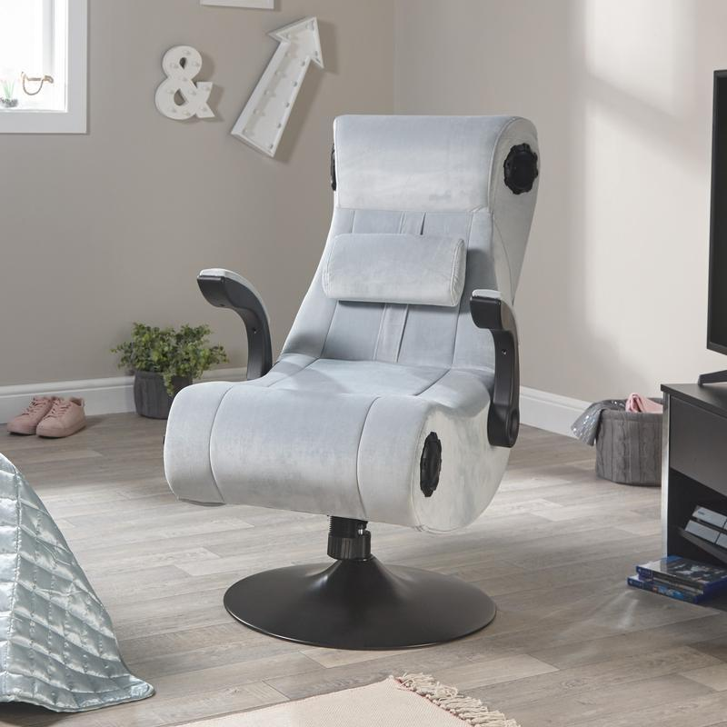 X Rocker Deluxe 4.1 High Back Fabric Gaming Chair with Bluetooth Speakers -  Grey Upholstery and Black Frame