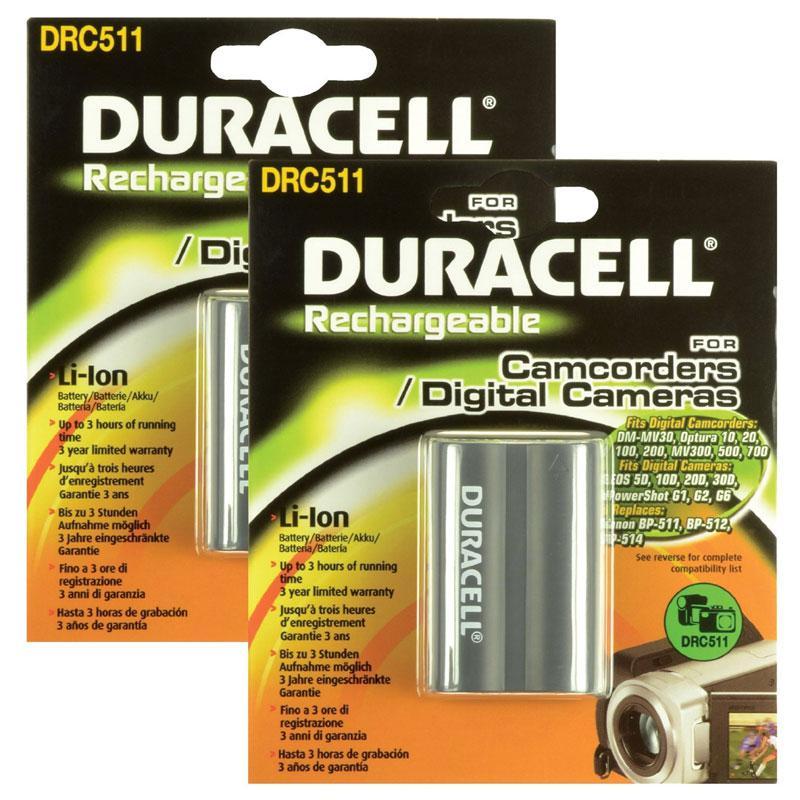 Duracell Canon BP-511, BP-511A, BP-512, BP-513, BP-514, BP508 Camera Battery - 2 Pack