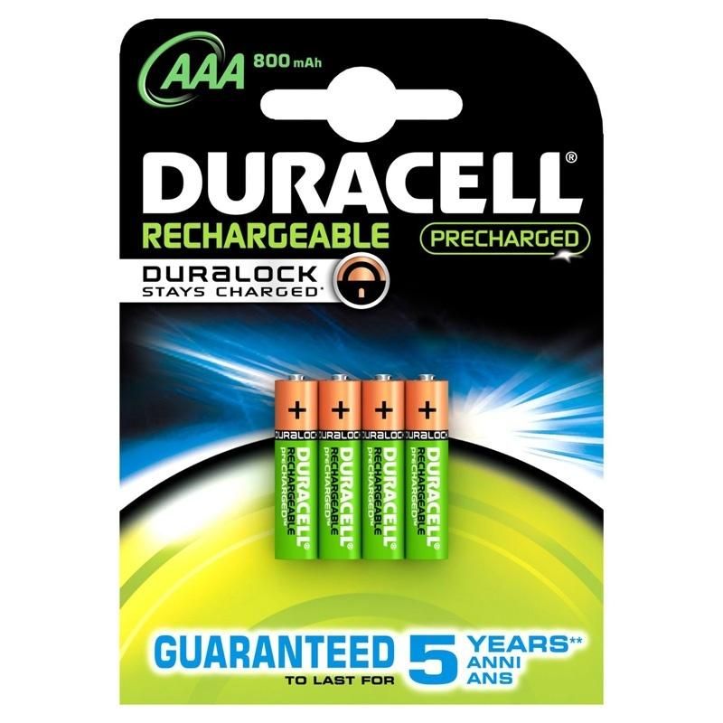 Duracell StayCharged 800mAh AAA Rechargeable Batteries - 4 Pack