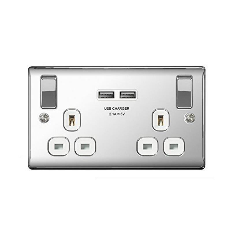 Masterplug Polished Chrome Switched 13A Double Socket + 2 x USB Port - White Insert
