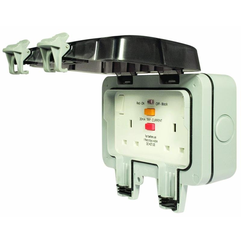 Masterplug 13A 2-Gang Storm Weatherproof Outdoor RCD Switched Latched Double Pole Socket (WP22RCD)