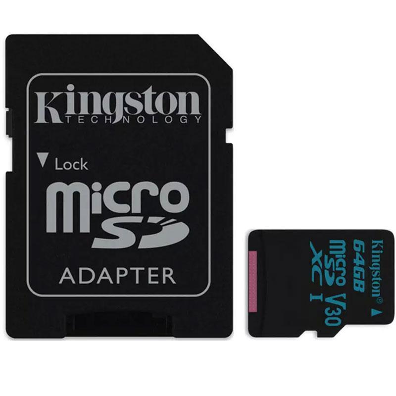 Kingston 64GB Canvas Go Micro SD Card (SDXC) UHS-I U3 V30 + Adapter - 90MB/s