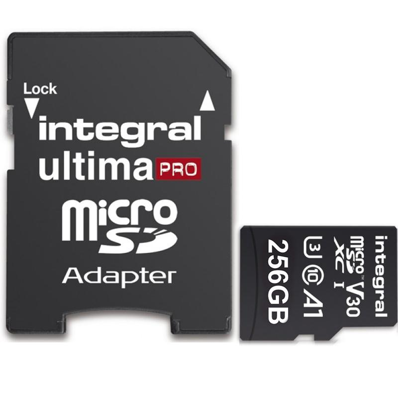 Integral 256GB UltimaPRO V30 Premium Micro SD Card (SDXC) UHS-I U3 + Adapter - 100MB/s