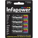 Infapower 1300mAh AA Longlife Rechargeable Batteries - 4 Pack