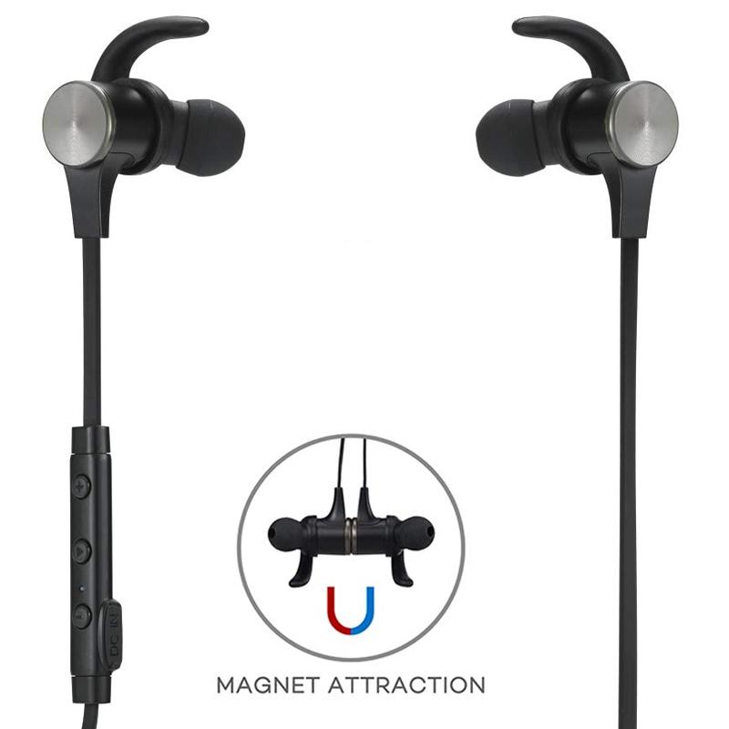 TaoTronics Wireless Magnetic Earbuds + Mic - Black