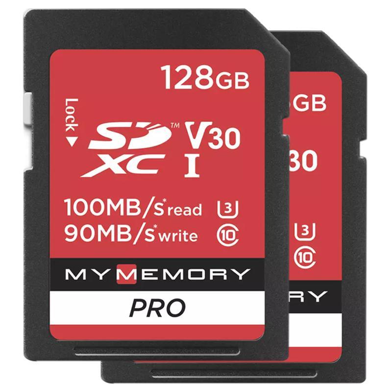 MyMemory 128GB V30 Premium High Speed SD Card (SDXC) UHS-I U3 - 2 Pack - 100MB/s