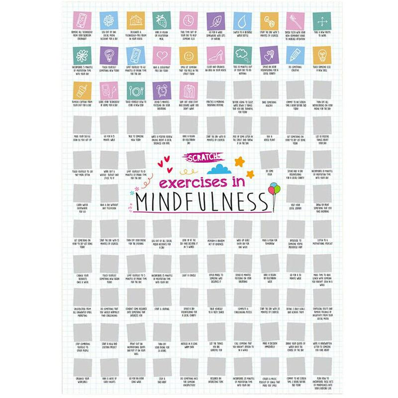 Scratch Poster A2 Size - 100 Exercises in Mindfulness