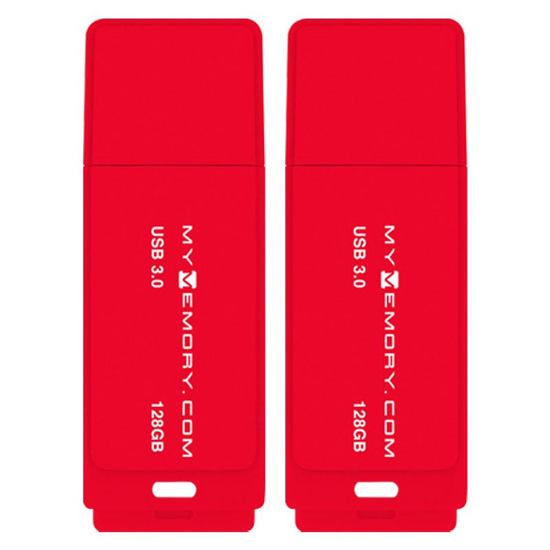 MyMemory 128GB USB 3.0 Flash Drive 200MB/s - Red - 2 Pack