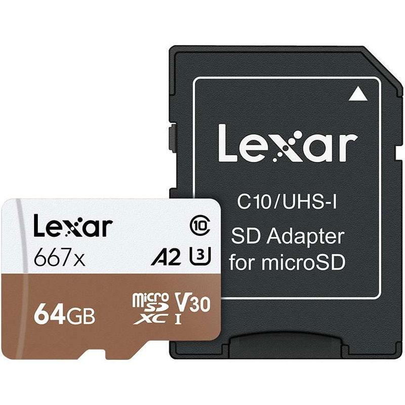 Lexar 64GB Professional 667x Micro SD Card (SDXC) A2 UHS-I U3 + Adapter - 100MB/s