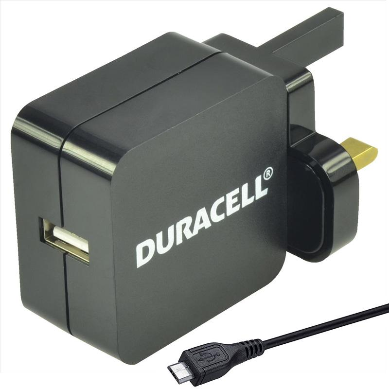 Duracell 2.4A Micro USB Mains Charger - Black