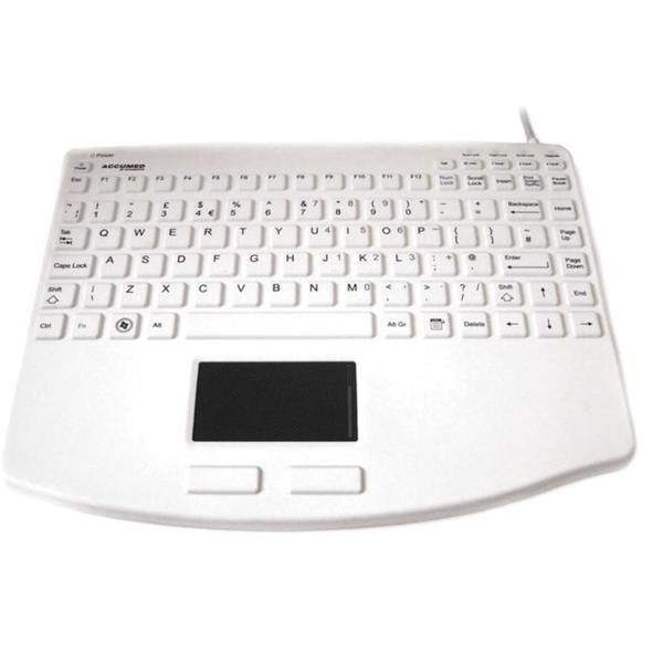 Accuratus AccuMed 540 USB Mini Sealed IP67 Antibacterial Medical Keyboard with Large High Resolution Touchpad (White)