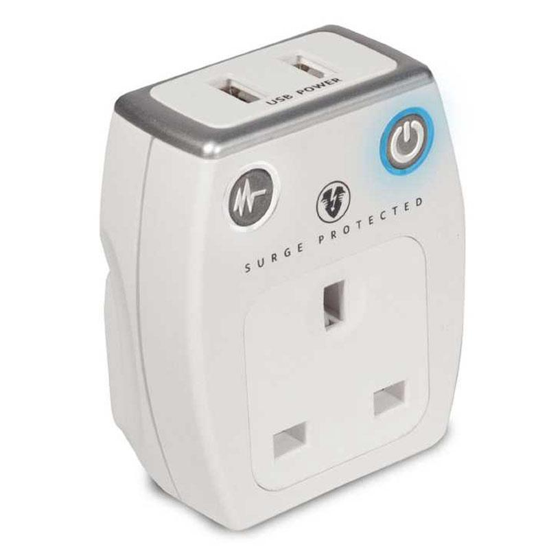 Masterplug 1A Surge Protected USB Mains Charger - White
