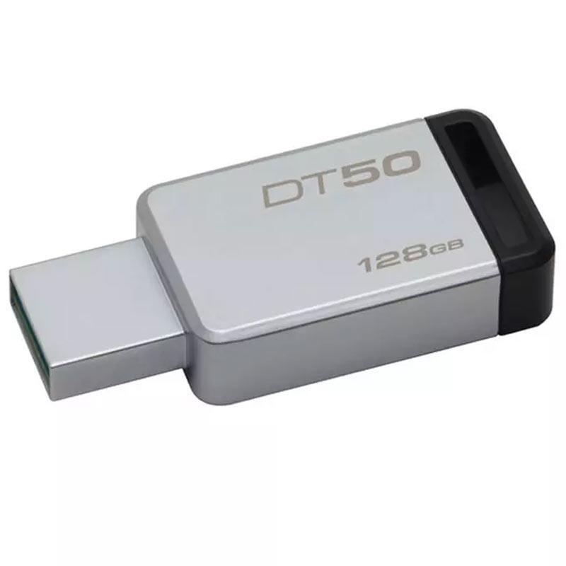 Kingston 128GB DataTraveler DT50 USB 3.0 Flash Drive - 110Mb/s - Metal/Black