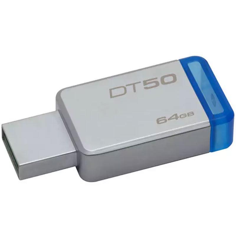 Kingston 64GB DataTraveler DT50 USB 3.0 Flash Drive - 110Mb/s - Metal/Blue