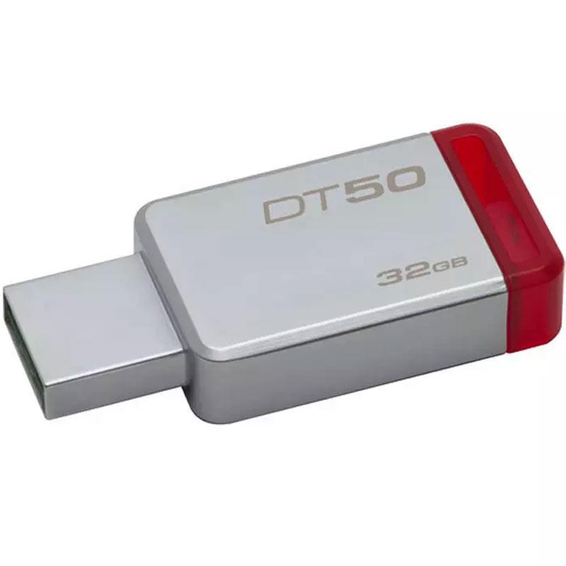 Kingston 32GB DataTraveler DT50 USB 3.0 Flash Drive - 110Mb/s - Metal/Red