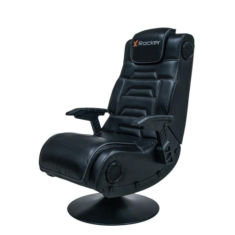 X Rocker Pro 4.1 High Back Faux Leather Gaming Chair with Bluetooth Speakers -  Black Upholstery and Frame