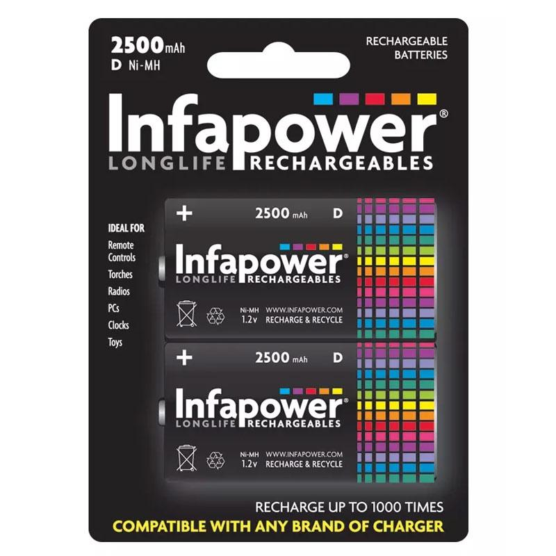 Infapower 2500mAh D Longlife Rechargeable Batteries - 2 Pack