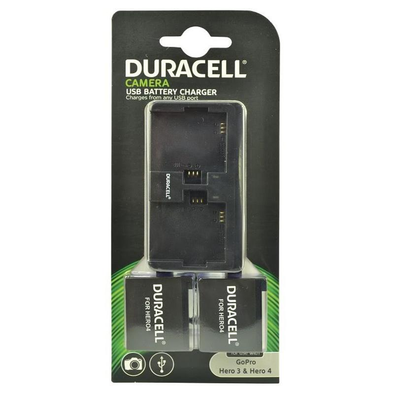 Duracell Dual Charger for GoPro Hero 3 & 4 + 2 Batteries