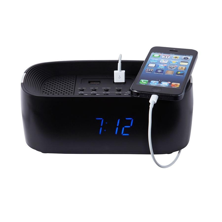 Groov-e Bluetooth Wireless Playback Alarm Clock Radio Speaker System - Black
