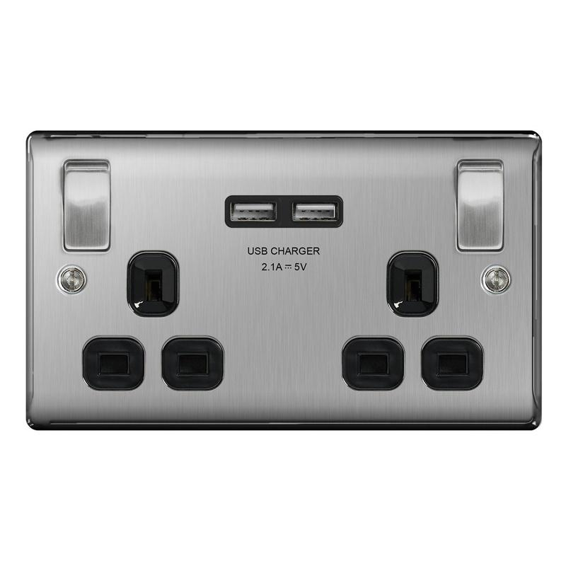 Masterplug Brushed Steel Switched 13A Double Socket + 2 x USB Port - Black Insert