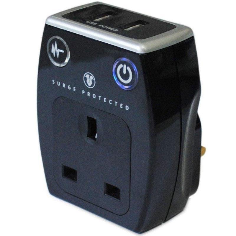 Masterplug USB Charger with Plug Through Surge Socket + 2 x 2.1A USB Ports - Black