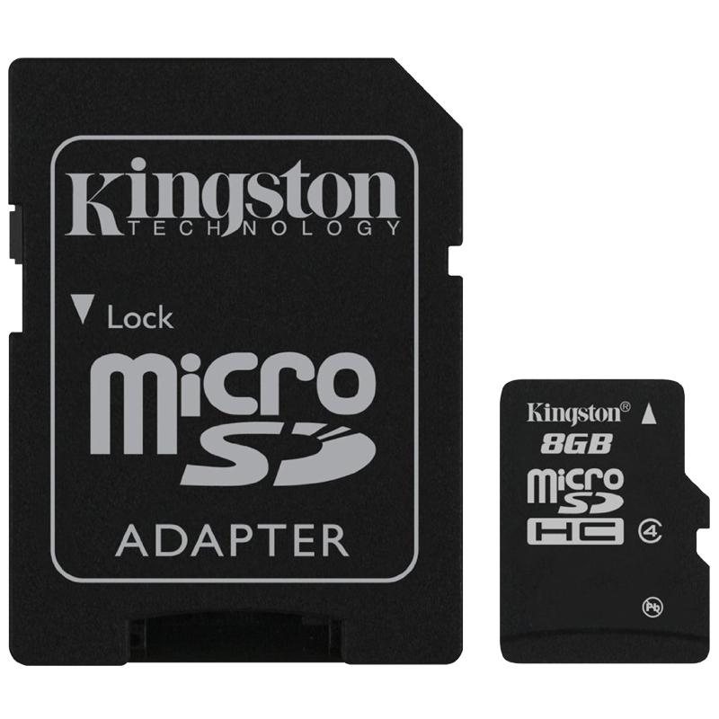 Kingston 8GB Micro SD Card (SDHC) + Adapter - 4MB/s