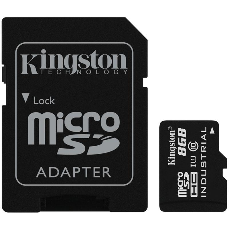Kingston 8GB Industrial Micro SD Card (SDHC) + Adapter - 90MB/s