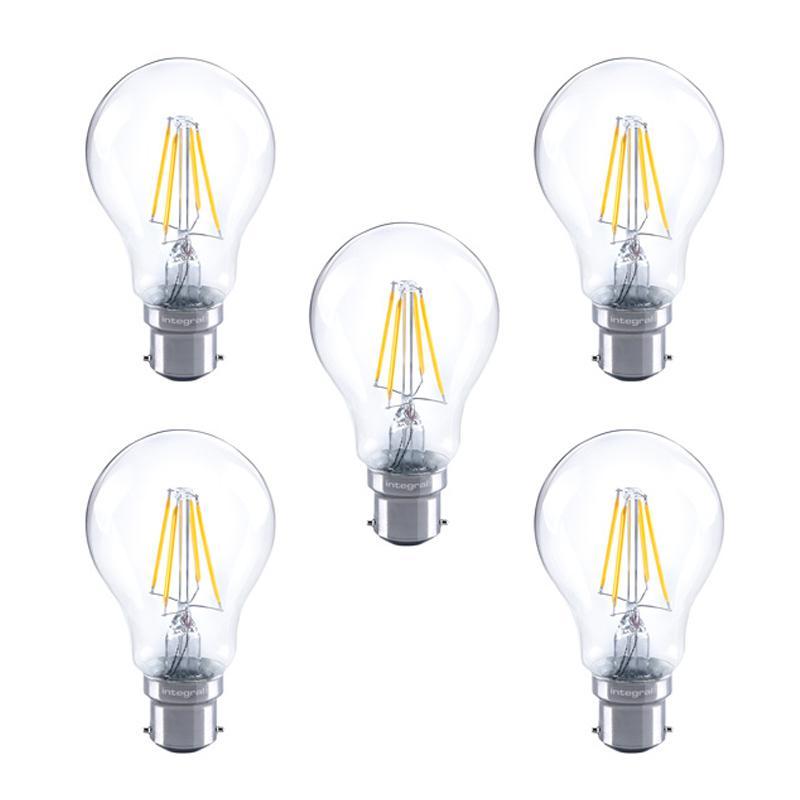 Integral GLS LED Klassische Vollglas-Glühbirne B22 4,5W (40W) 2700K Dimmbare Lampe - 5er Pack